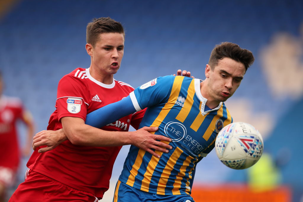 SHREWSBURY, ENGLAND - OCTOBER 06: Callum Johnson of Accrington Stanley and Alex Gilliead of Shrewsbury Town during the Sky Bet League One match between Shrewsbury Town and Accrington Stanley at New Meadow on October 6, 2018 in Shrewsbury, United Kingdom. (Photo by Matthew Ashton - AMA/Getty Images)